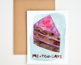 Me+You+Cake Greeting Card