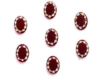 Oval Red Bindi Self Adhesive Indian Dots Crystal