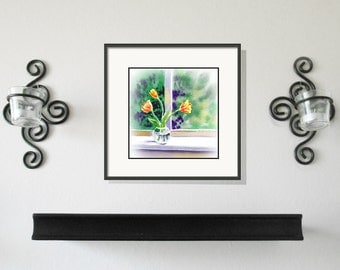 Tulips Original Art  Watercolor Painting - Tulips on the Window - 3.5 x 3.5 inches