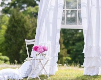 Ruffled Linens Triple Ruffled Curtain Set