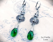 Emerald Crystal Gothic Earrings, Green Victorian Earrings, Victorian Jewelry, Gothic Jewelry