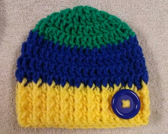 Newborn Green Blue Yellow Hat