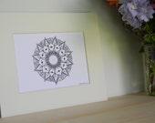 Hand Drawn Floral Mandala Matted Print Artwork, Mandala, Zen, Meditation, Yoga, Yogi, Zen art, sacred geometry, ink pen, matted art work
