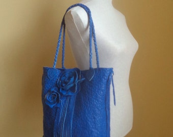 royal blue leather, handbag, tote with flower roses and fringe by Tuscada. Ready to ship.