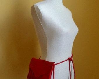 red leather handbag, shoulder bag, hip bag, belt bag, clutch with leaf fringe by Tuscada. Ready to ship.