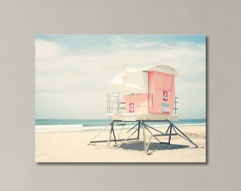 Beach Photography Canvas Wall Art, Pastel Summer, San Diego Beach Photography, California Canvas Art, Beach Gallery Wrap, Large Wall Art