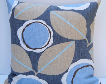Modern Floral Pillow Cover, Taupe and Blue Throw Pillow, Blue Floral Pillow Cover, 18x18 Floral Cushion Cover