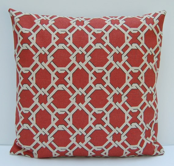 Brick Red Geometric Pillow Cover Rust TanThrow Pillow 18x18