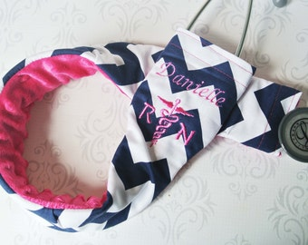 Embroidered RN Stethoscope Cover - Registered Nurse - Nurse Gift - Navy Chevron with Fuchsia