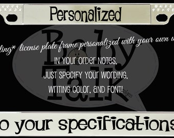 crystal bling personalized custom metal license plate frame cover