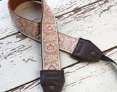 Aqua and Red Leather and Suede Camera Strap