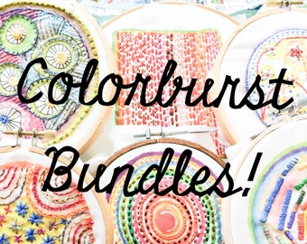 Bundle of SIX Colorburst Embroidery Samplers