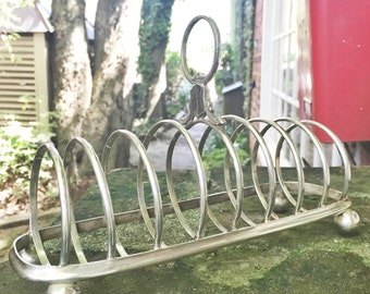 Huge Antique English Silver Plate 8 Slice Toast Rack