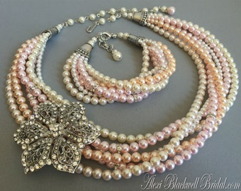 Complete Bridal Jewelry Set Necklace Bracelet Earrings in Blush Pink Ivory 6 strands Swarovski Pearls and Rhinestone Brooch choice of colors