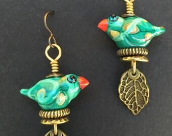 Artisan Bird Earrings #2...Wayne Robbins glass