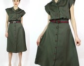 Two Piece Set S/M • 70s Army Green Dress • Flared Skirt and Boxy Blouse