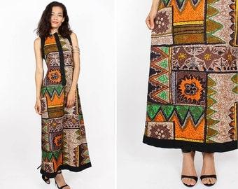 Tribal Maxi Dress S/M • 60s Barkcloth Tent Dress