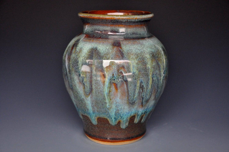 Ceramic pottery flower vase handmade stoneware a for Handmade flower vase with waste material
