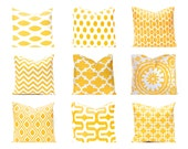 Euro Sham, Yellow Pillow Cover, Decorative Throw Pillow Cover Yellow Cushion Yellow Mix and Match Yellow Euro Sham