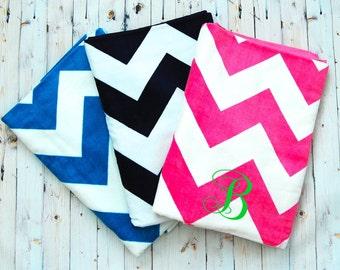 Monogram Beach Towel - Beach Wedding -   Navy, Turquoise, Pink - Chevron - Summer Outdoors- Teacher Appreciation