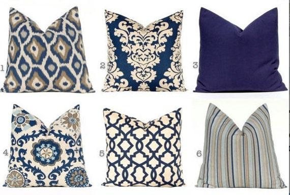 Navy Blue Pillows Blue Cushions Decorative By FestiveHomeDecor