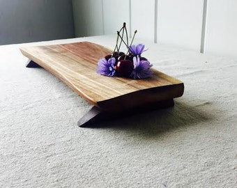 Finger Food Delight Footed Platte -  Rustic Cutting Board/Serving Tray