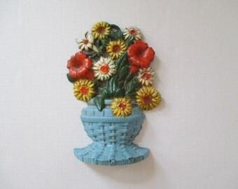 Vintage Cast Iron Floral Doorstop - John Wright - Orange, Yellow, Blue - Cottage Garden Decor
