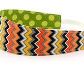 Reversible Fabric Headband- Children Toddler in Mod Yellow Orange Black Green Chevron Zig Zag