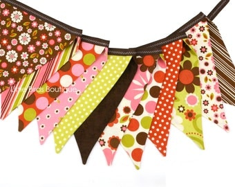 READY to SHIP! Reusable Fabric Bunting, Banner Flags, Photography Prop, Fall Decoration, Birthday Party Decor, Riley Blake Indian Summer