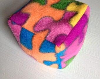 Baby bean bag block toy multi colour fleece