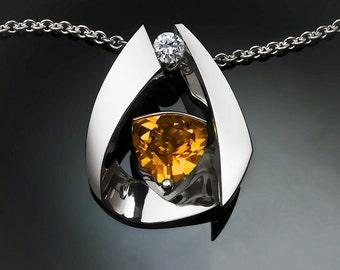 citrine necklace, statement necklace, November birthstone, fine jewelry, white sapphire, Argentium silver, contemporary, artisan - 3455
