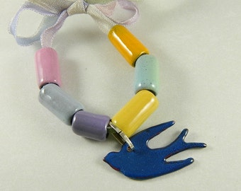 Enameled Tube Beads with Bird Charm Bead Bundle