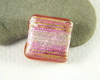 Red, Pink, and Gold Dichroic Fused Glass Bead/Pendant- 5