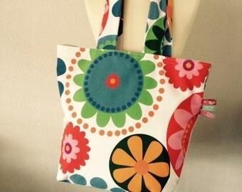 Beach bag tote bag shopper flowers red pink blue orange green white summer handmade
