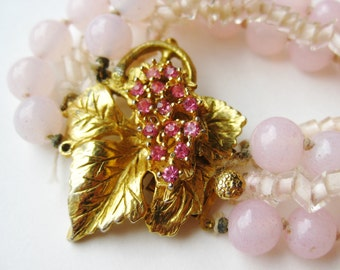 Vintage 50s Pink Art Glass Vogue Jewelry Rhinestone Clasp Necklace