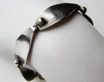 Vintage 60s Modernist Beau Sterling Silver Mid Century Panel Link Bracelet