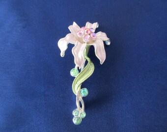 pink flower brooch, vintage, rhinestones, orchid flower, wedding brooch, bouquet