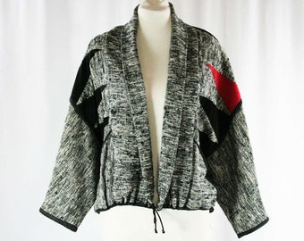 Size Large XL 1980s Designer Jacket - Black & White Tweed - Leather Appliques - Red Accent - Avant Garde - Artisan Style - Jacqui - 44036