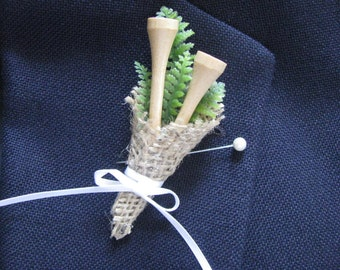 Boutonnière  Golf Tee Country Club Wedding Boutonnière   DESIGN 3