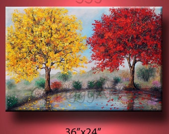 by the lake,two big trees,Autumn, large original painting, 36x24inch on stretched canvas, ready to hang