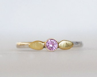 Sapphire Petal Ring - Choose Pink Yellow or Blue Sapphire - 18k and Sterling Silver