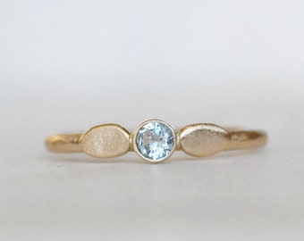Aquamarine Petal Ring -  Gold Aquamarine Ring - Choose 14k OR 18k Gold