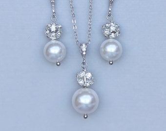Pearl Bridal Jewelry Set, Pavè Crystal Earrings and Necklace Set, Wedding Jewelry Set,  Bridal accessories CARMEN