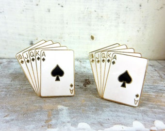 Vintage Playing Card Cuff Links-Royal Flush Cufflinks-Poker Cuff Links- Black and White Cuff Links-Lucky Cuff Links