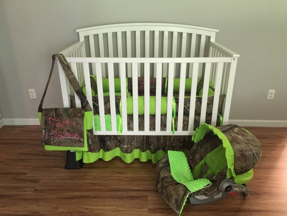 Items Similar To 7pc Camo Realtree Fabric & Lime Green Crib Bedding Nursery Set With Diaper Bag