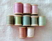 BEAUTIFUL Collection of 10 Vintage Sorbet Colored Threads on Wood Spools Pink Green Cream FREE SHIPPING
