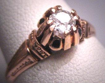 Rare Antique Diamond Wedding Ring Rose Gold Enamel Victorian 19th Cent