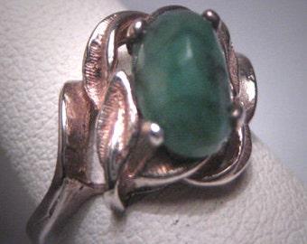 Antique Vintage Emerald Ring Wedding Mid-Century Retro Deco 1930-50s