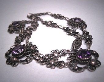 Antique Victorian Amethyst Necklace Handmade Filigree Vintage 1800s