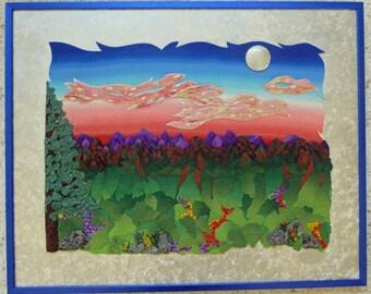 Rocky Mountain Sunset Polymer Clay Wall Art Framed 3D